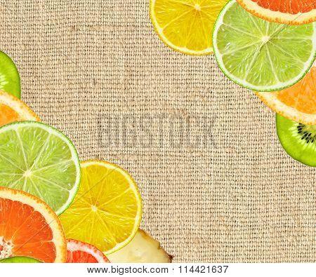 Beautiful Citrus Fruits Of Lemon, Orange, Grapefruit, Lime On Canvas Cloth