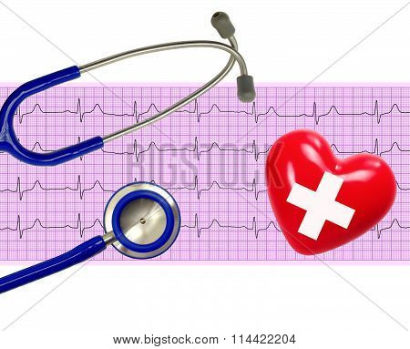 Heart Analysis, Electrocardiogram Graph (ecg), Heart And Stethoscope