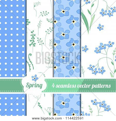 Set with four seamless spring patterns with blue flowers forget me nots. Collection of endless textures for your design, greeting cards, announcements, posters.