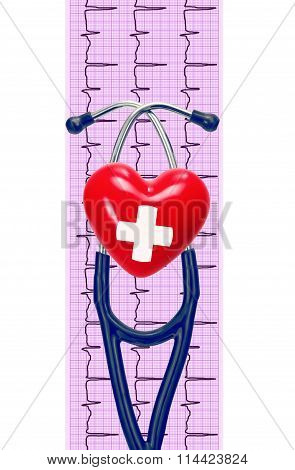 Cardiogram With Stethoscope And Heart On White Background