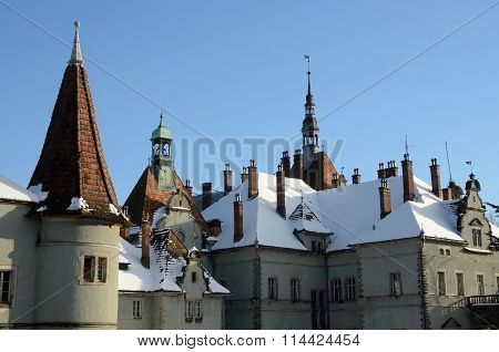 Roof of medieval abandoned castle covered with the snow Zakarpattia, Western Ukraine, Europe