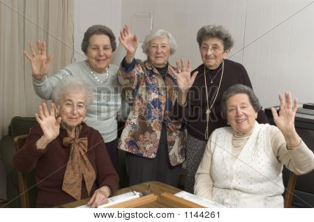 Senior Women At The Game Table