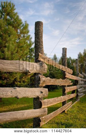 Wooden Fence For Animals On A Farm