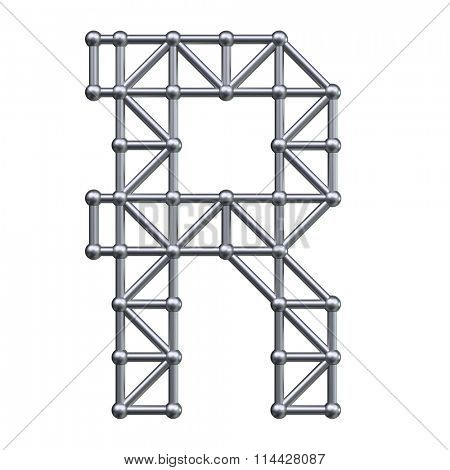Metal structure alphabet letter R. 3D render.