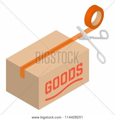Isometric cardboard box with tape and scissors
