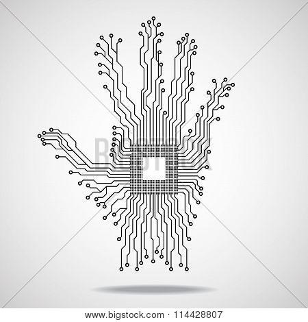 Hand. Cpu. Circuit board