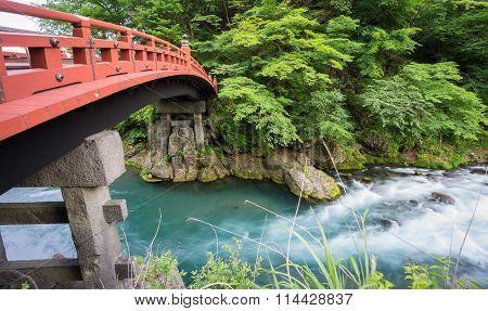 Long exposure closeup of Shinkyo Bridge in Nikko, Japan