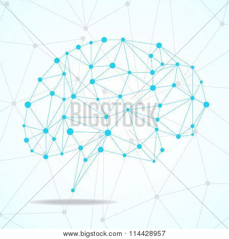 Abstract geometric brain with triangular polygons network connections