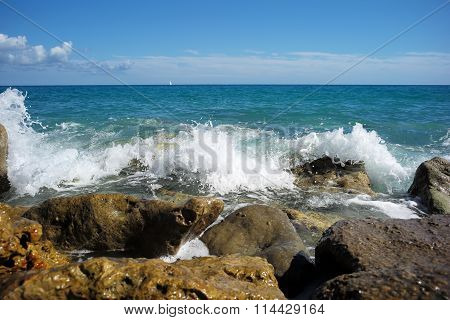 Sea Waves Hit Stony Seashore