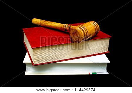Gavel And Books Isolated On A Black Background