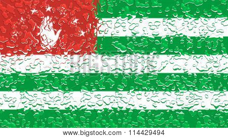 Flag of Abkhazia with water drops