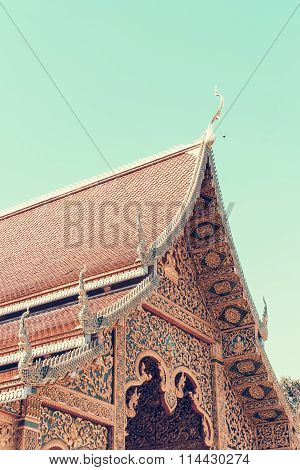 Bhuda Temple In The Northern Of Thailand,vintage Toning