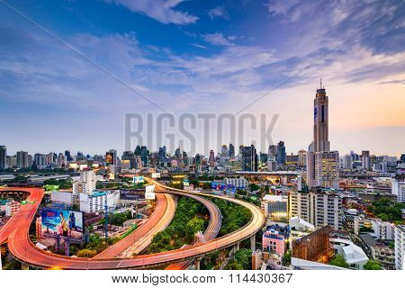 BANGKOK, THAILAND - SEPTEMBER 28, 2015: The cityscape of Bangkok with Baiyoke II Tower, the tallest building in the country.