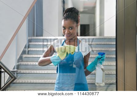 Woman Cleaning Glass With Rag