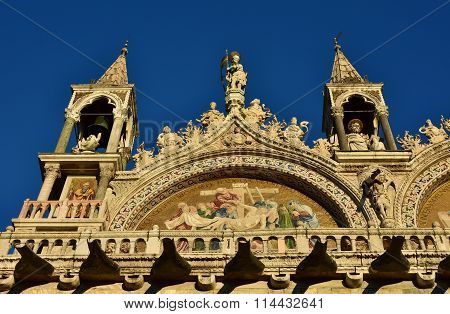 Saint Mark Basilica Gothic Spires And Friezes At Sunset