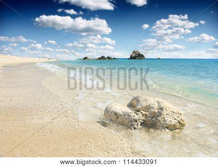 The beautiful beach on the island of Lefkada in Greece
