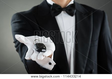 Midsection Of Waiter Holding Car Key