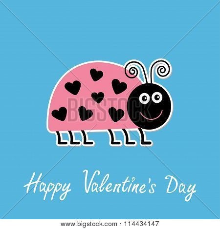 Cute Cartoon Pink Lady Bug With Dots In Shape Of Heart. Happy Va