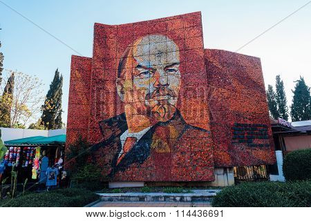 Sochi, Russia, July 7, 2015: Mosaic Monument Portrait Of Lenin