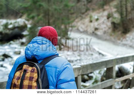 Back side of walking man hiking outdoors in winter Tatra Mountains on wooden bridge