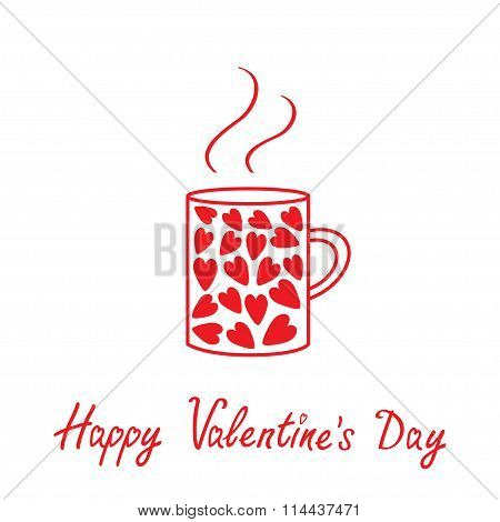 Mug With Hearts And Steam. Happy Valentines Day Card.