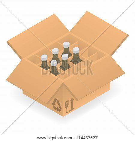 Open cardboard box with bottles inside