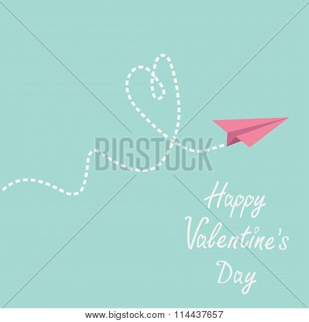 Origami Paper Plane. Dash Heart In The Sky. Happy Valentines Day