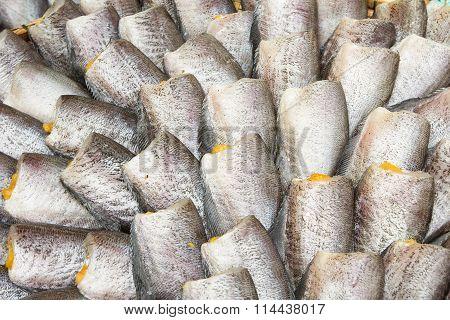 Snakeskin Gourami Fish,Pla Salit fish (Trichogaster pectoralis) dry overlay local cuisine thailand.