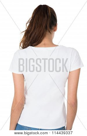 Rear View Of Young Woman Wearing Blank White Tshirt