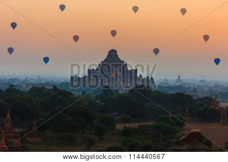 Group Of Ancient Pagodas In Bagan With Altitude Balloons At The Sunrise, Bagan, Myanmar
