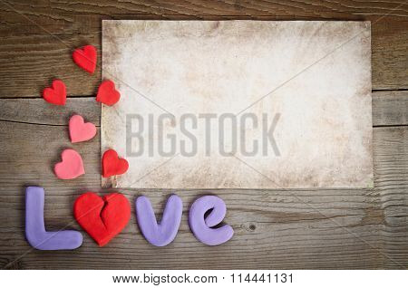 Word Love Composition With Broken Heart  Rather Letter
