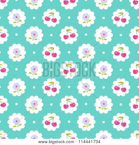 Seamless pattern with sweet cherry and flower