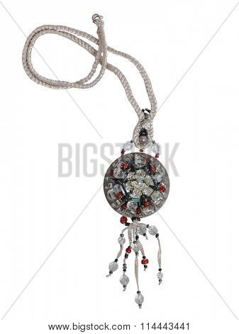 silver necklace isolated on white background