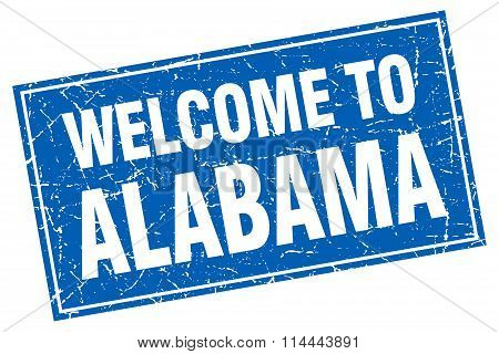 Alabama Blue Square Grunge Welcome To Stamp