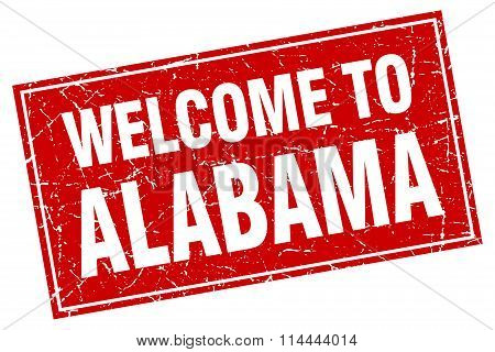 Alabama Red Square Grunge Welcome To Stamp