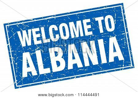 Albania Blue Square Grunge Welcome To Stamp