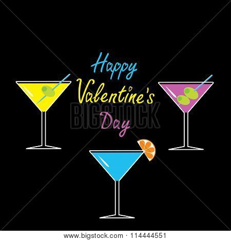 Martini Glasses Set On Black Background. Happy Valentines Day Ca