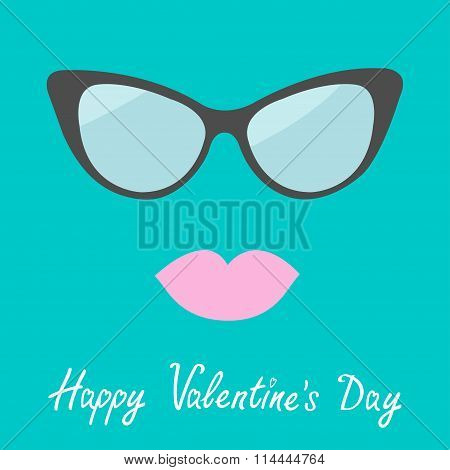 Women's Glasses And Lips. Flat Design. Happy Valentines Day Card
