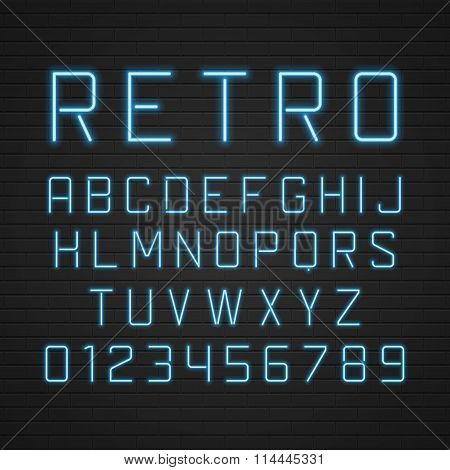 Vector design retro signboard letters with light neon lamps.