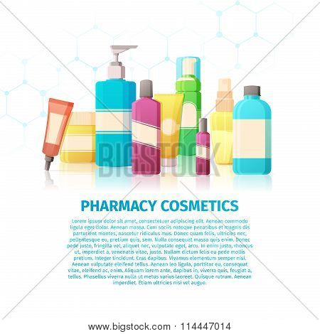 Template design banner, brochures, posters about the pharmacy cosmetics. Medical beauty products for
