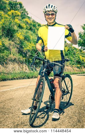 Amateur Cyclist With Blank Sheet