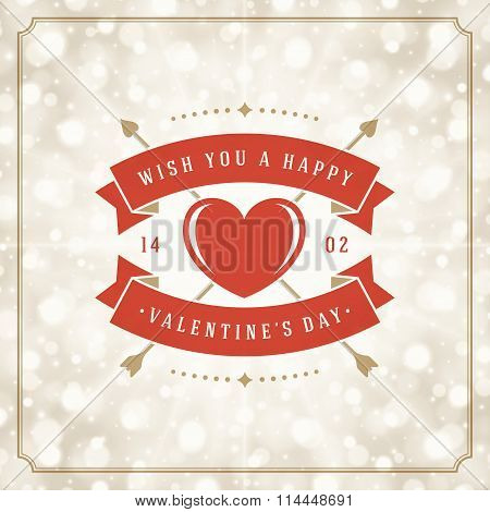 Valentine's Day greeting card or poster vector illustration. Retro typographic design and Magic Ligh