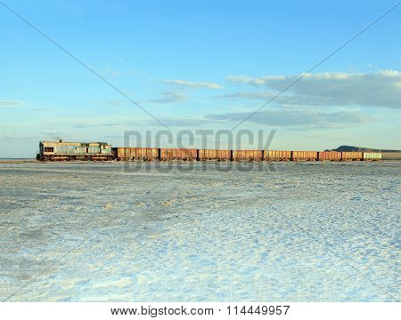 Old Rusty Train On The Salt Lake Baskunchak