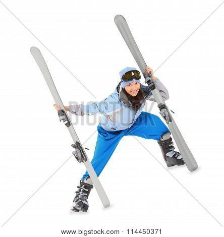 Young Girl In Sportwear With Ski Isolated Over White