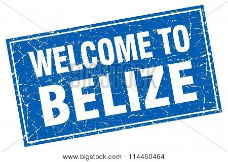 Belize Blue Square Grunge Welcome To Stamp