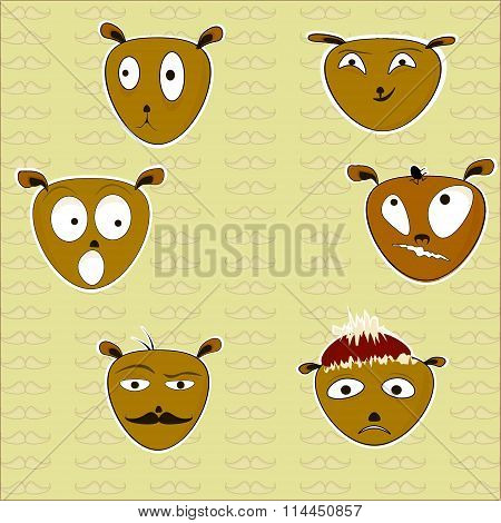 Vector Illustration Of Six Funny Dogs Stickers.
