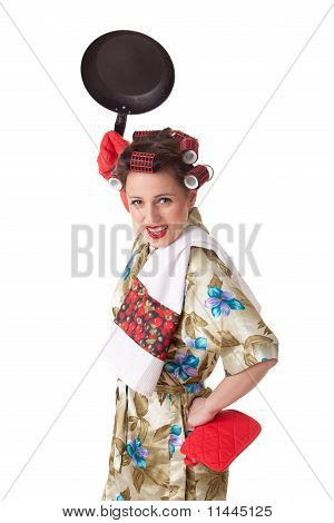 Young Angry Woman With Frying Pan.