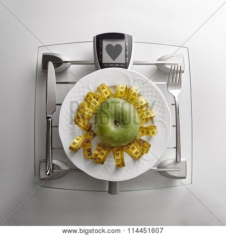 Concept Healthy Food On Table With Apple And Heart Message