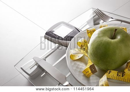 Concept Healthy Food On Table With Apple Elevated View