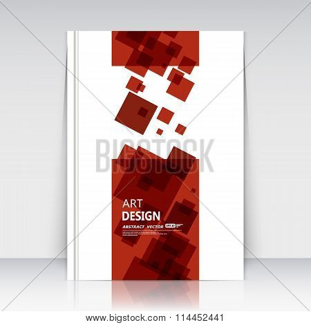 Abstract composition. Red square blocks art. Lozenge text frame icon. Rhombus logo, trademark style. A4 brochure title page. Creative ad construction. Official banner form. Minimalistic modern flyer